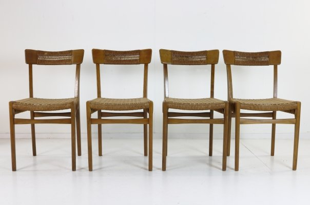 Set of 4 Danish design woven paper cord dining chairs
