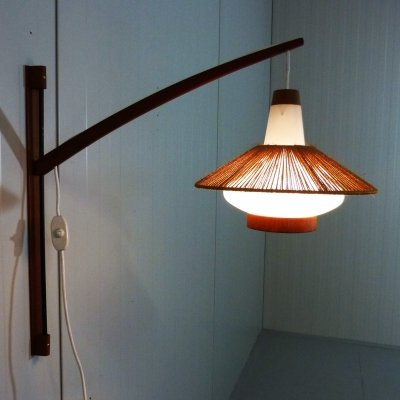 Large adjustable wall lamp in teak & glass, 1960's