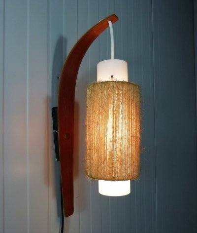 Wall lamp in teak & glass, 1960's