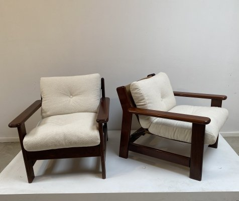 Pair of white bouclette easy chairs, 1970s