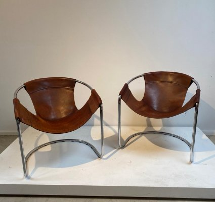 Pair of cognac leather easy chairs, 1970s