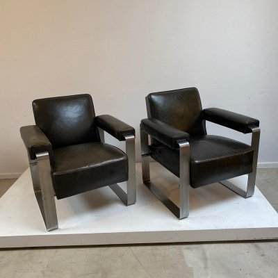 Pair of dark brown leather & chrome easy chairs, 1980s