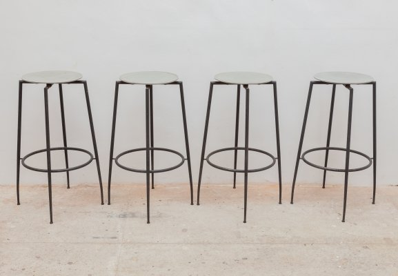 Wrought Iron Industrial Foot Stools by Foraform, Norway 1980s
