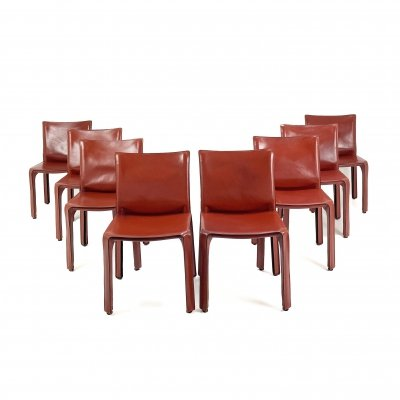 Set of 8 Cab chairs by Mario Bellini for Cassina, 1990s