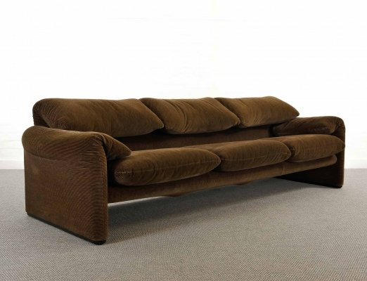 Maralunga 3-seater sofa in brown fabrics by Vico Magistretti for Cassina