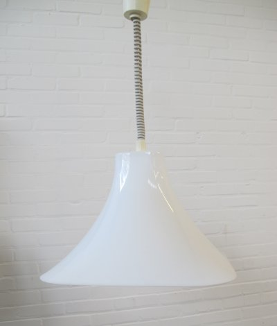 Vintage plastic square witch hat hanging lamp, 1980s