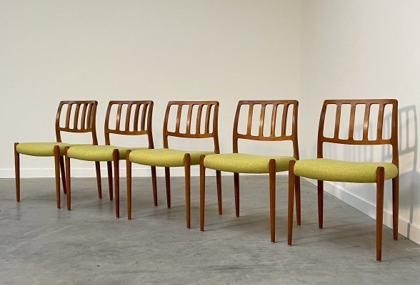 Set of 5 Model 83 dining chairs by Niels O. Møller for JL Møllers Møbelfabrik, 1960s
