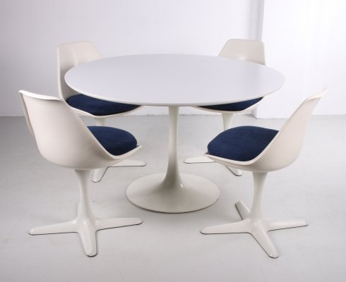 Set of table with 4 chairs designed by Maurice Burke for Arkana