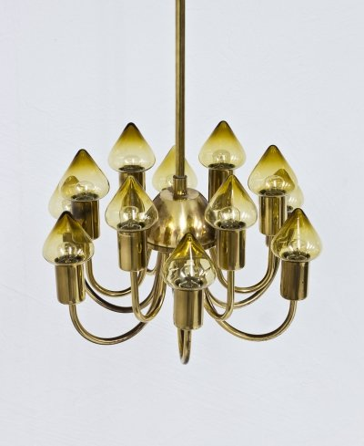 Brass & Glass Chandelier by Hans-Agne Jakobsson