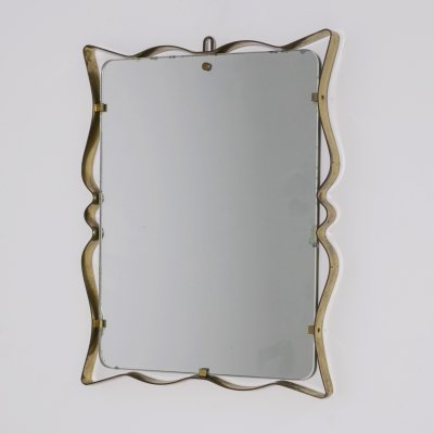 Italian Wall Mirror by Fontana Arte in Brass & Glass, 1950