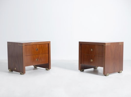 Pair of Pierre Balmain Original French Bedside Tables in Wood & Brass, 1980s