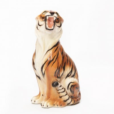 Rare tiger sculpture in ceramic, Italy 1970s