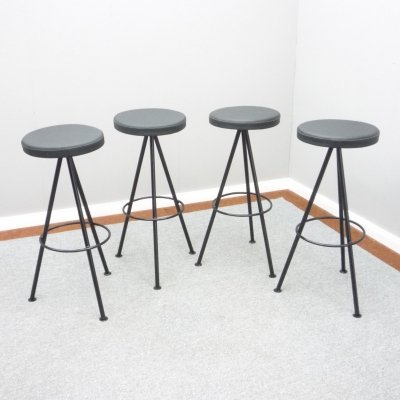 Set of 4 Leather & Metal Bar Stools, 1960s