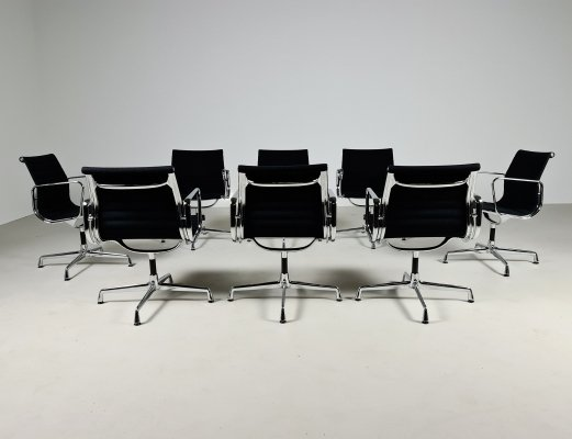 Set of 8 swivel EA 108 office chairs by Charles & Ray Eames for Vitra