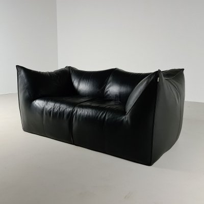 Original black leather Le Bambole 2-seater sofa by Mario Bellini for B&B Italia