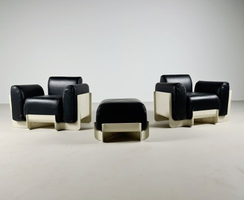 Duna lounge chairs with ottoman by Emilo Guarnacci for Uno Pi, Italy 1969