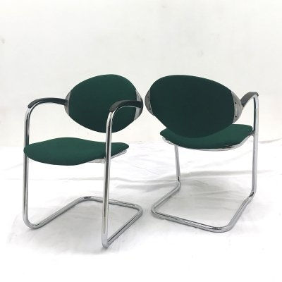 Vintage tubular cantilever chairs, 1980s