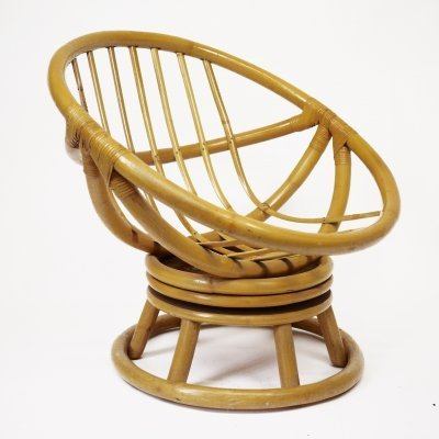Vintage Bamboo Round Swivel Chair, 1970s