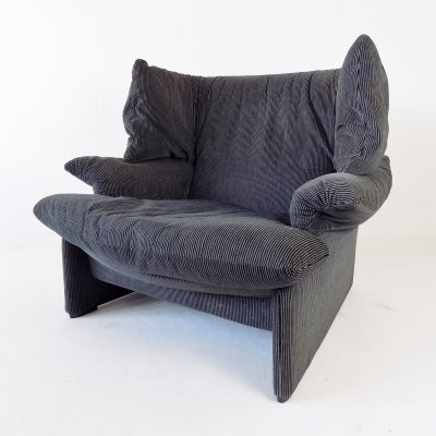 Vico Magistretti for Cassina 'Portovenere' armchair in black gray