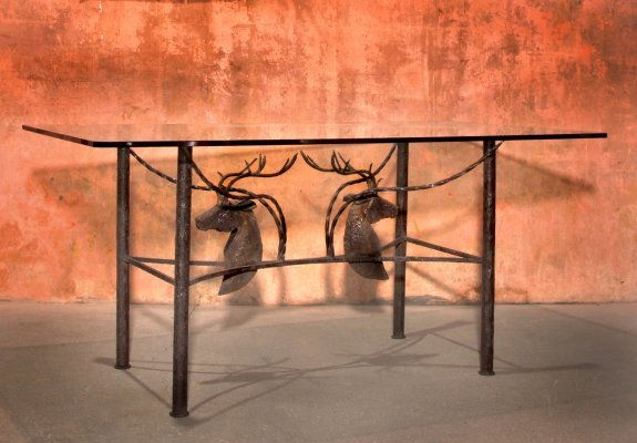 Brutalist Handcrafted Wrought Iron Deer Head Dining Table, 70s