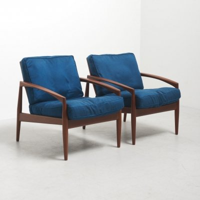 Pair of 'Paper Knife' Easy Chairs by Kai Kristiansen for Magnus Olesen, Denmark