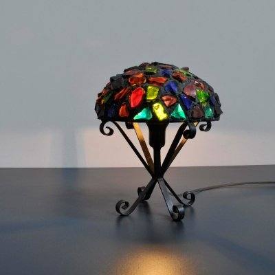 1950s Small table lamp with wrought iron base & lead with colored glass shade