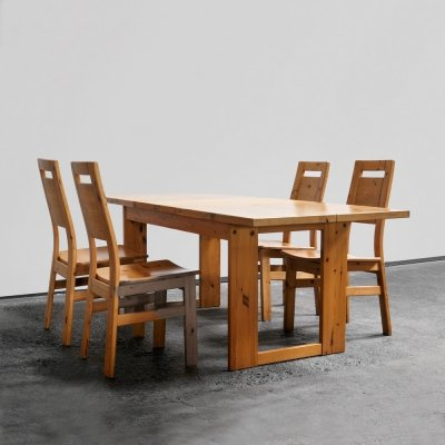 1970s dining set with extendable pine table with 4 Laukaan Puu chairs