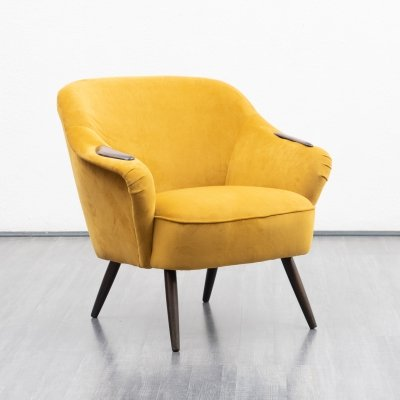 Cocktail chair in yellow velours, 1950s