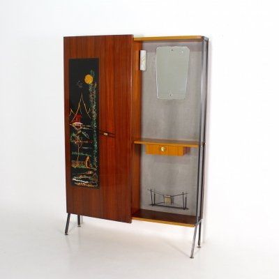 Japanese style cloakroom in rosewood & steel, Italy 1950's