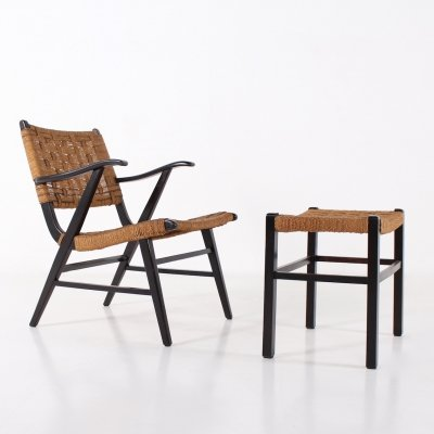 Armchair & ottoman in lacquered beech & braided hemp ropes, 1940's