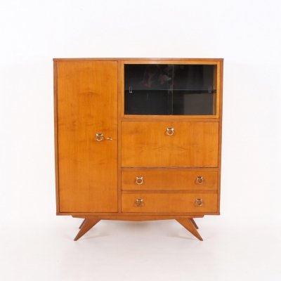 Stained ash & brass compas feet highboard, 1950's