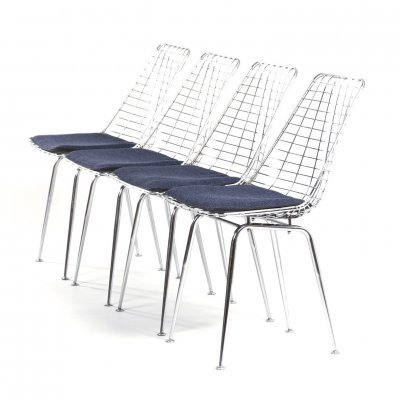 Set of 4 Flamingo Wire Chairs by Braakman & Dekker for Pastoe, 1960s