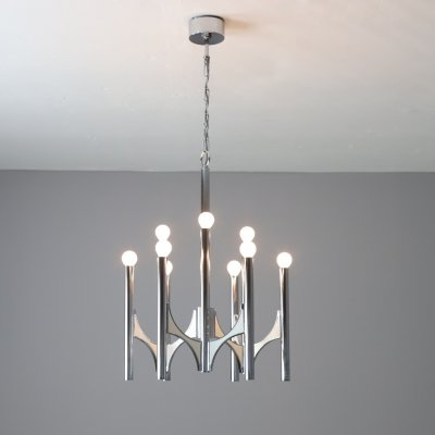 Gaetano Sciolari 9 light chandelier in chromed metal, Italy 1970s