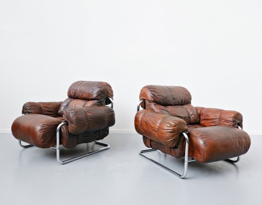 Pair of Italian 'Tucroma' Armchairs in Leather by Guido Faleschini, 1970s