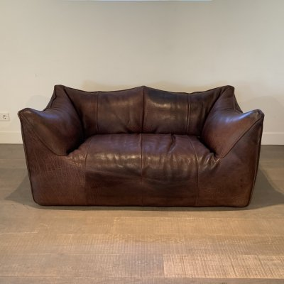 Early Le Bambole Buffalo leather sofa by Mario Bellini for B&B Italia, 1970s