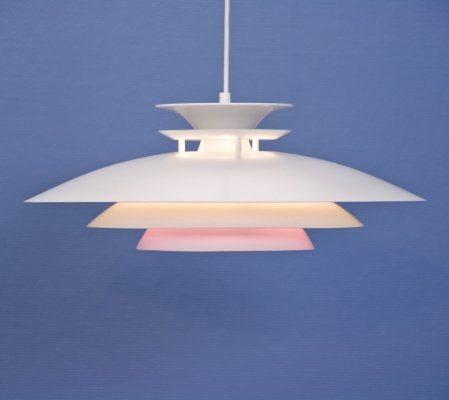 Danish hanging lamp in white with pink / lilac accent, 1970s