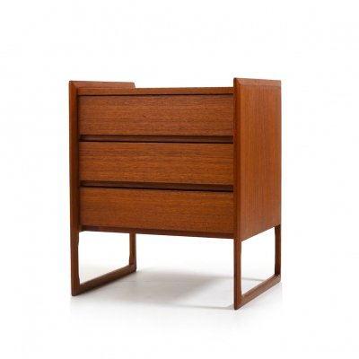 1960s Scandinavian Teak Chest of Drawers with Sled Legs