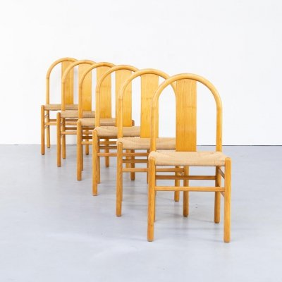 Set of 6 Annig Sarian round bend wooden dining chair for Tisettanta, 1980s