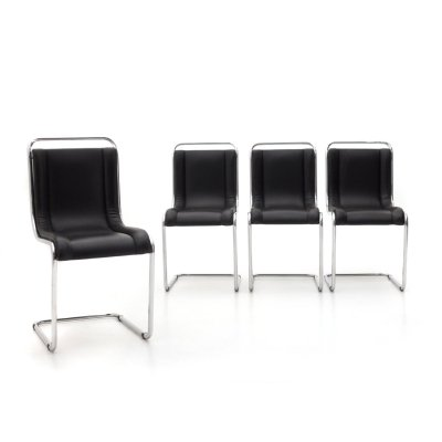 4 chromed metal chairs by Ico Parisi for Fratelli Longhi, 60s