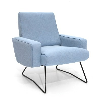 Armchair in light blue fabric, 60s