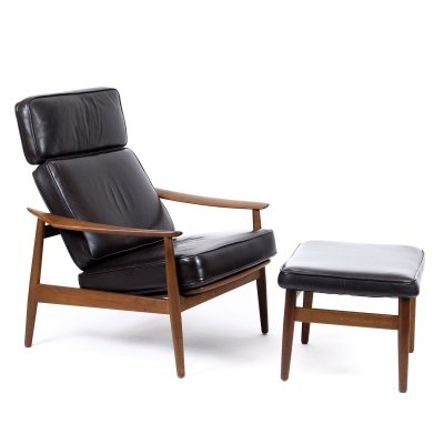 Teak & Leather Lounge Chair & Ottoman by Arne Vodder for France & Son, 1960s