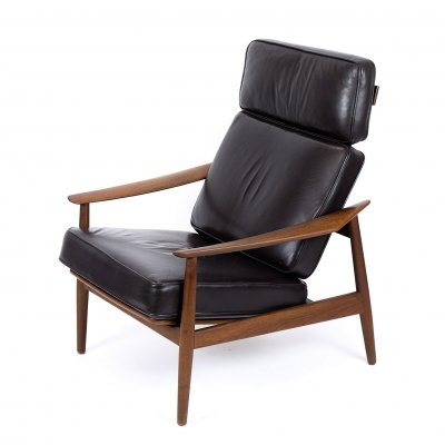 Teak & Leather Lounge Chair by Arne Vodder for France & Son, 1960s
