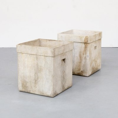 Pair of large Willy Guhl square planters, 1980s