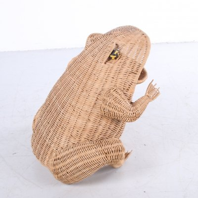 Vintage Wicker Frog Magazine Holder by Olivier Cajan
