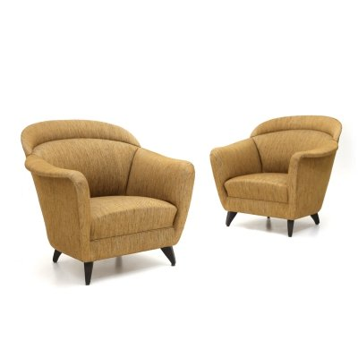 Pair of armchairs in hazelnut fabric, 1960s
