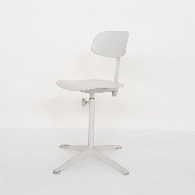 White Friso Kramer for Ahrend de Cirkel drafting stool, The Netherlands 1960's