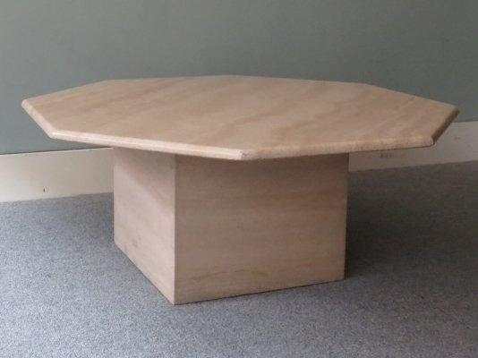 Octagonal travertine coffee table, Italy 1970s