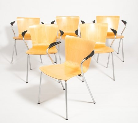 Vico Magistretti set of 6 'VicoDuo' chairs produced by Fritz Hansen, 1990s