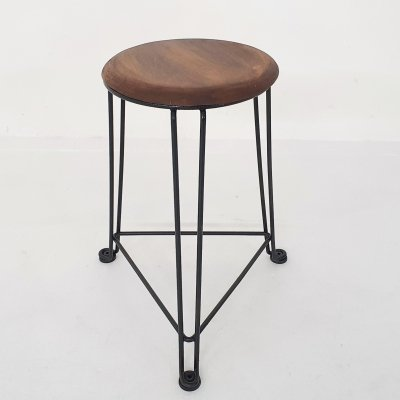 Tomado metal & wooden stool Model 550, The Netherlands