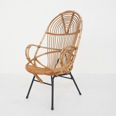 Rohe Noordwolde rattan lounge chair, The Netherlands 1950's